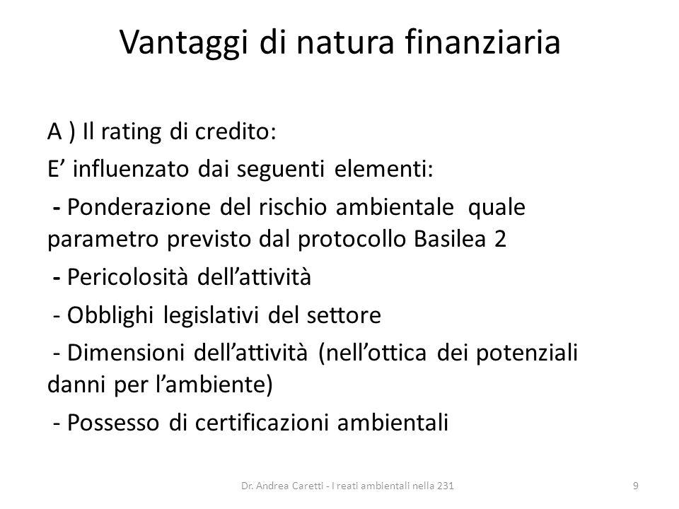 Vantaggi di natura finanziaria A ) Il rating di credito: E influenzato dai seguenti elementi: - Ponderazione del rischio ambientale quale parametro pr