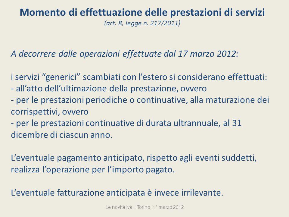 Momento di effettuazione delle prestazioni di servizi (art.