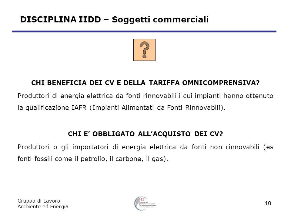 DISCIPLINA IIDD – Soggetti commerciali CHI BENEFICIA DEI CV E DELLA TARIFFA OMNICOMPRENSIVA.
