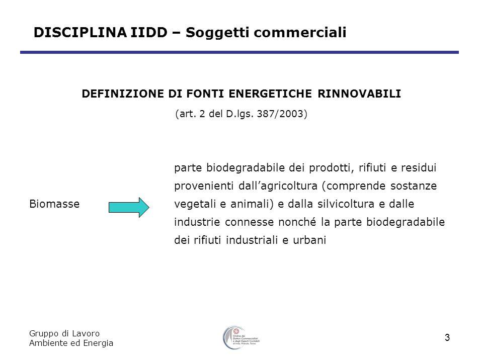 DISCIPLINA IIDD – Soggetti commerciali Gruppo di Lavoro Ambiente ed Energia 3 DEFINIZIONE DI FONTI ENERGETICHE RINNOVABILI (art.