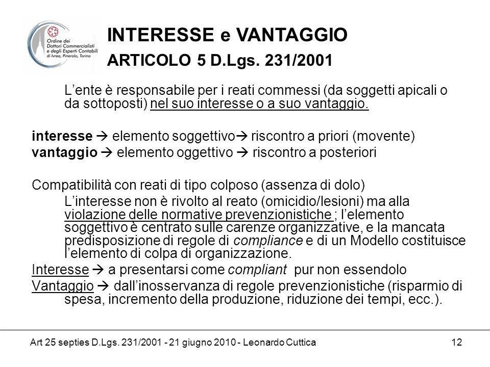 Art 25 septies D.Lgs. 231/2001 - 21 giugno 2010 - Leonardo Cuttica 12 Lente è responsabile per i reati commessi (da soggetti apicali o da sottoposti)