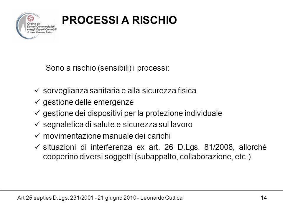 Art 25 septies D.Lgs. 231/2001 - 21 giugno 2010 - Leonardo Cuttica 14 Sono a rischio (sensibili) i processi: sorveglianza sanitaria e alla sicurezza f