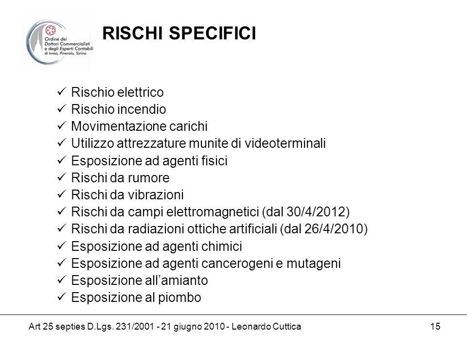 Art 25 septies D.Lgs. 231/2001 - 21 giugno 2010 - Leonardo Cuttica 15 Rischio elettrico Rischio incendio Movimentazione carichi Utilizzo attrezzature