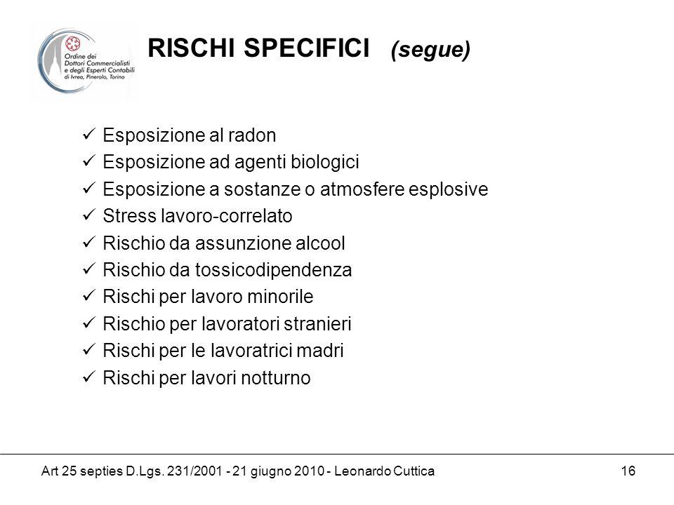 Art 25 septies D.Lgs. 231/2001 - 21 giugno 2010 - Leonardo Cuttica 16 Esposizione al radon Esposizione ad agenti biologici Esposizione a sostanze o at