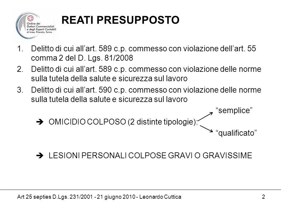 Art 25 septies D.Lgs. 231/2001 - 21 giugno 2010 - Leonardo Cuttica 2 1.Delitto di cui allart. 589 c.p. commesso con violazione dellart. 55 comma 2 del