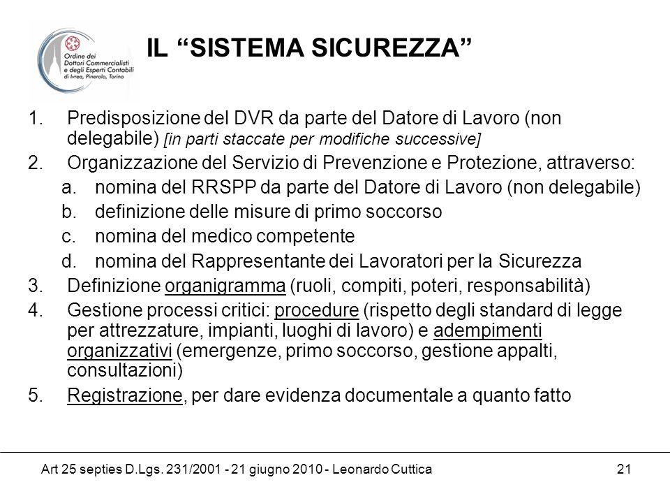 Art 25 septies D.Lgs. 231/2001 - 21 giugno 2010 - Leonardo Cuttica 21 1.Predisposizione del DVR da parte del Datore di Lavoro (non delegabile) [in par