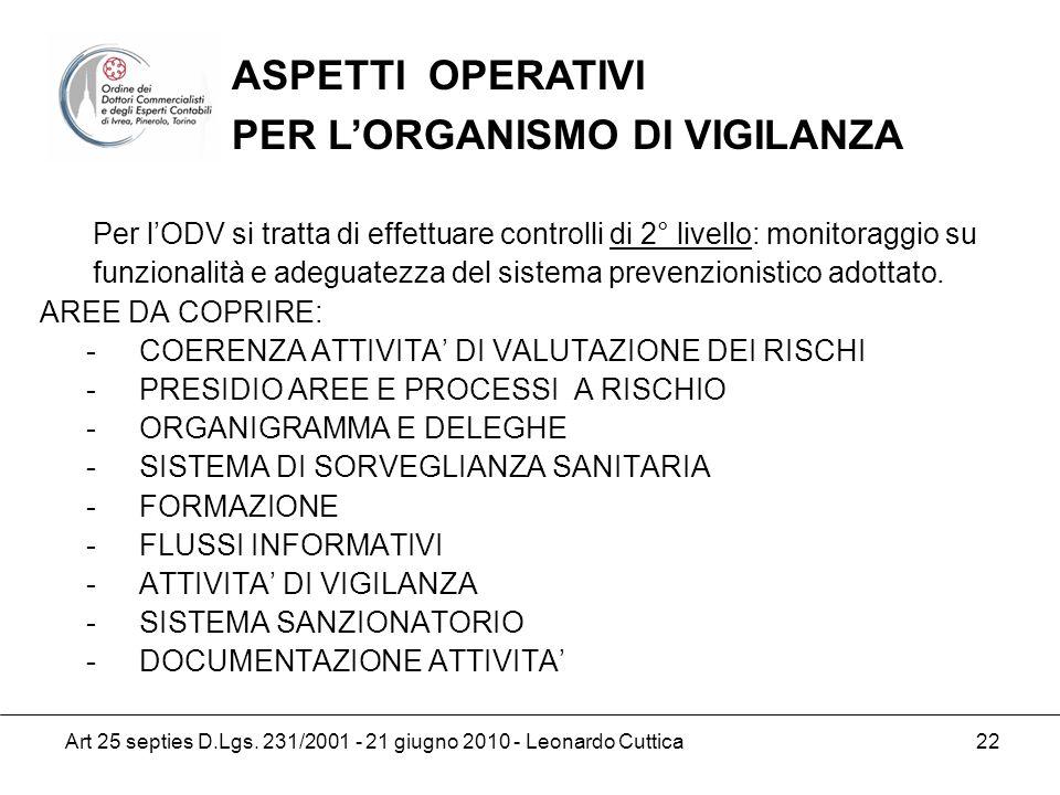 Art 25 septies D.Lgs. 231/2001 - 21 giugno 2010 - Leonardo Cuttica 22 Per lODV si tratta di effettuare controlli di 2° livello: monitoraggio su funzio
