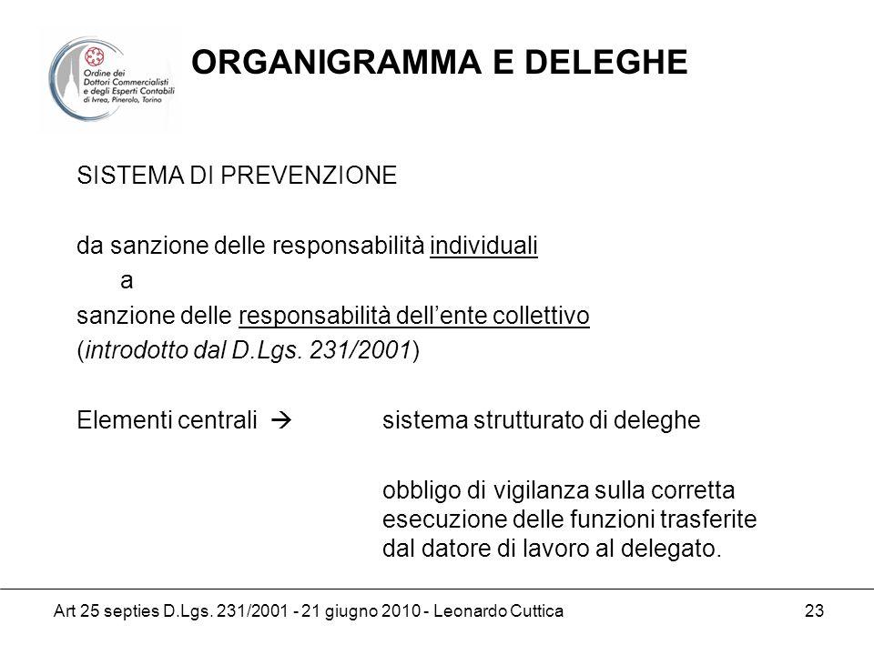 Art 25 septies D.Lgs. 231/2001 - 21 giugno 2010 - Leonardo Cuttica 23 SISTEMA DI PREVENZIONE da sanzione delle responsabilità individuali a sanzione d
