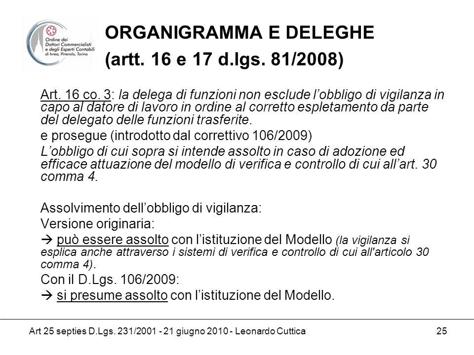 Art 25 septies D.Lgs. 231/2001 - 21 giugno 2010 - Leonardo Cuttica 25 Art. 16 co. 3: la delega di funzioni non esclude lobbligo di vigilanza in capo a