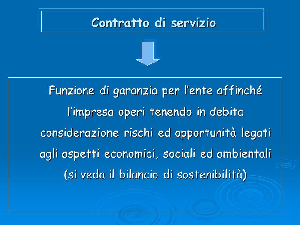 Contratto di servizio Funzione di garanzia per lente affinché limpresa operi tenendo in debita considerazione rischi ed opportunità legati agli aspetti economici, sociali ed ambientali (si veda il bilancio di sostenibilità)