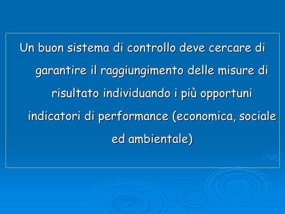 Un buon sistema di controllo deve cercare di garantire il raggiungimento delle misure di risultato individuando i più opportuni indicatori di performance (economica, sociale ed ambientale)