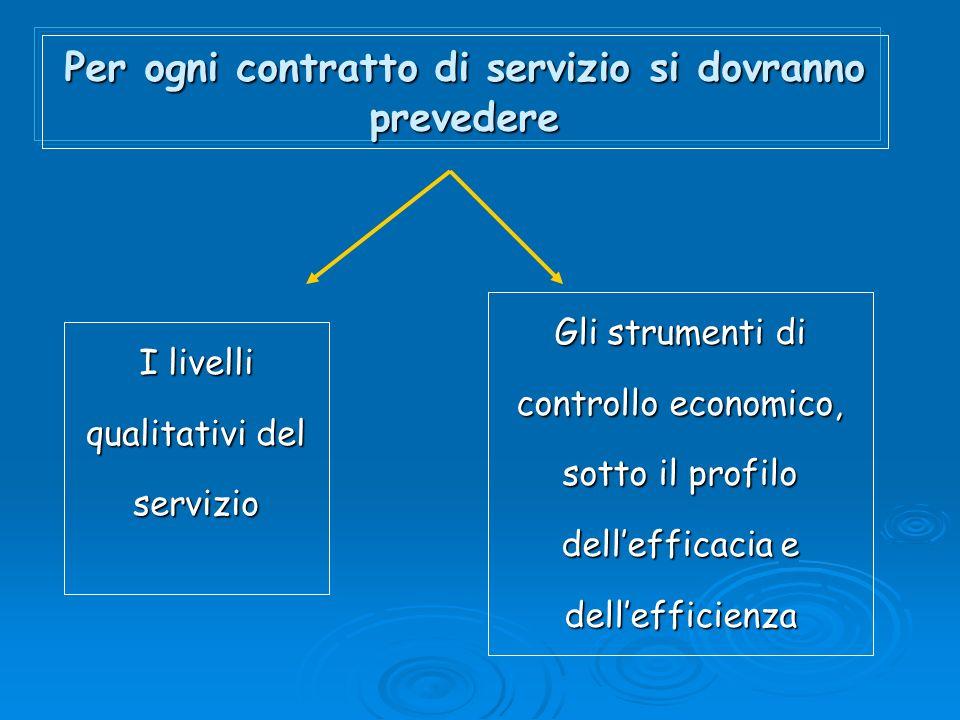 Per ogni contratto di servizio si dovranno prevedere I livelli qualitativi del servizio Gli strumenti di controllo economico, sotto il profilo dellefficacia e dellefficienza
