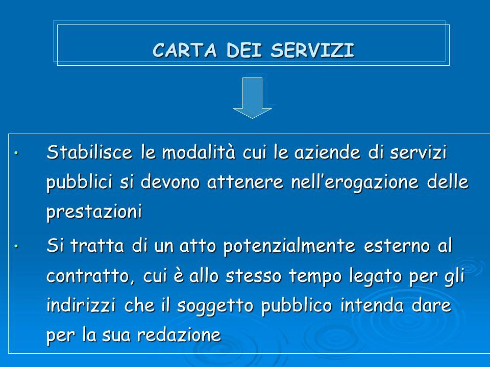 CARTA DEI SERVIZI Stabilisce le modalità cui le aziende di servizi pubblici si devono attenere nellerogazione delle prestazioni Stabilisce le modalità