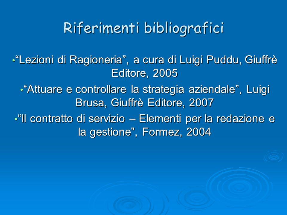 Riferimenti bibliografici Lezioni di Ragioneria, a cura di Luigi Puddu, Giuffrè Editore, 2005 Lezioni di Ragioneria, a cura di Luigi Puddu, Giuffrè Ed