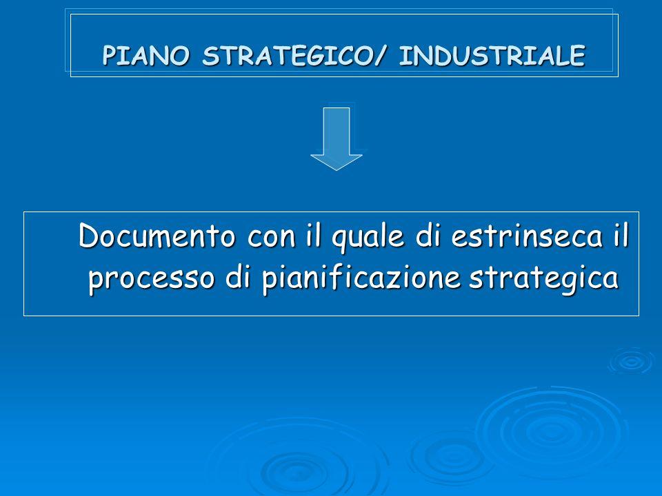 PIANO STRATEGICO/ INDUSTRIALE Documento con il quale di estrinseca il processo di pianificazione strategica