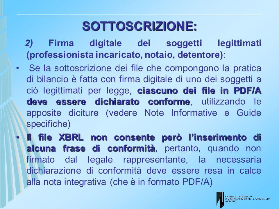 SOTTOSCRIZIONE: 2) Firma digitale dei soggetti legittimati (professionista incaricato, notaio, detentore): ciascuno dei file in PDF/A deve essere dich