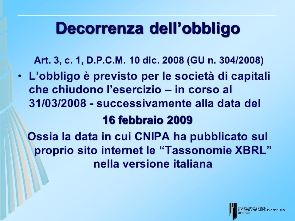 Decorrenza dellobbligo Art. 3, c. 1, D.P.C.M. 10 dic. 2008 (GU n. 304/2008) Lobbligo è previsto per le società di capitali che chiudono lesercizio – i