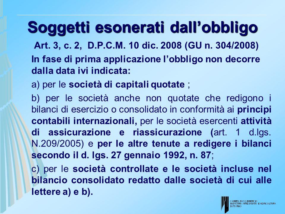Soggetti esonerati dallobbligo Art. 3, c. 2, D.P.C.M. 10 dic. 2008 (GU n. 304/2008) In fase di prima applicazione lobbligo non decorre dalla data ivi