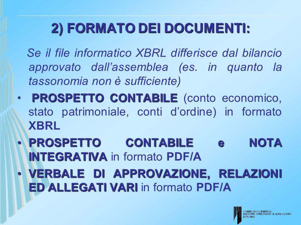 2) FORMATO DEI DOCUMENTI: Se il file informatico XBRL differisce dal bilancio approvato dallassemblea (es. in quanto la tassonomia non è sufficiente)