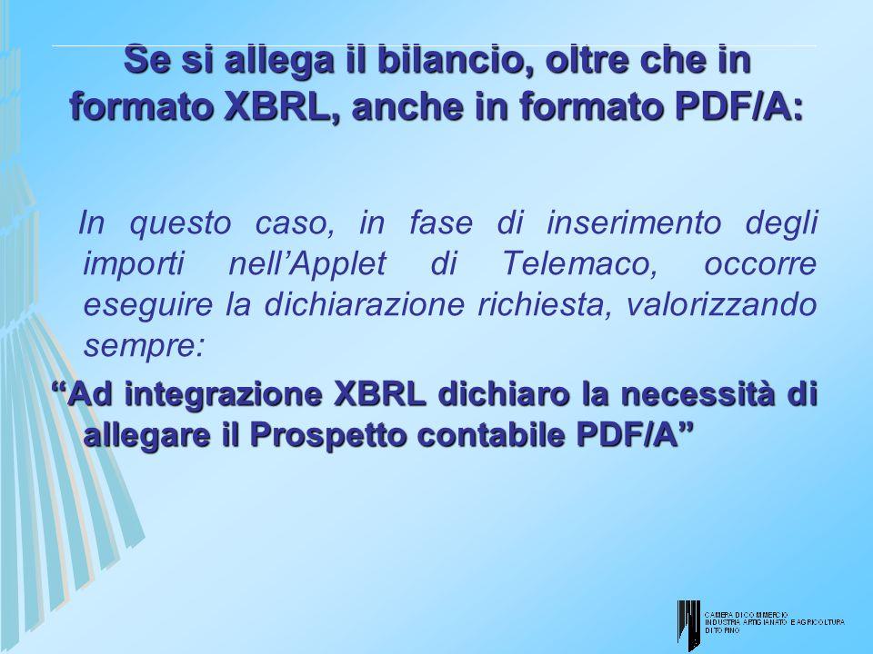 Se si allega il bilancio, oltre che in formato XBRL, anche in formato PDF/A: In questo caso, in fase di inserimento degli importi nellApplet di Telema