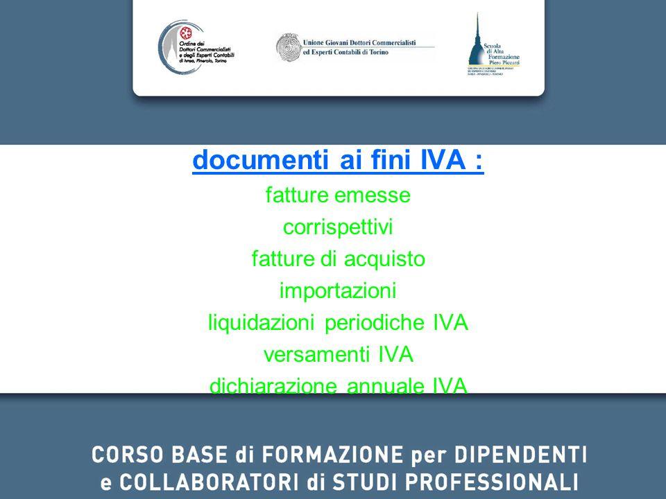 documenti ai fini IVA : fatture emesse corrispettivi fatture di acquisto importazioni liquidazioni periodiche IVA versamenti IVA dichiarazione annuale