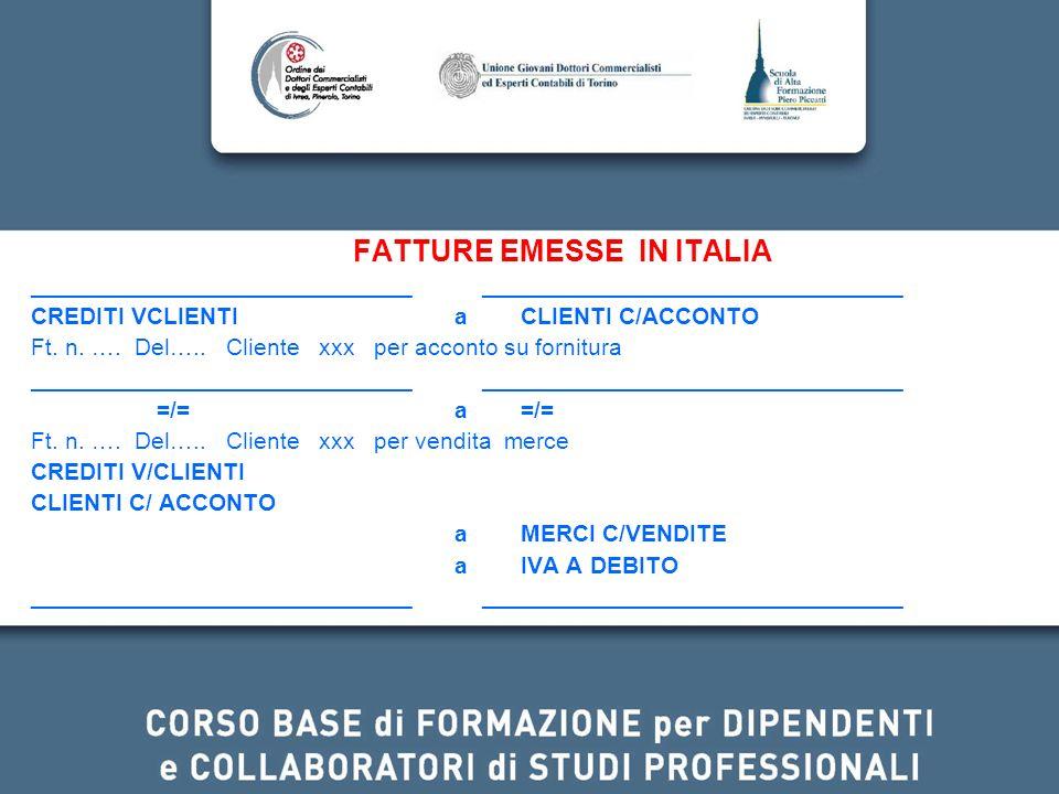 FATTURE EMESSE IN ITALIA _____________________________ ________________________________ CREDITI VCLIENTI a CLIENTI C/ACCONTO Ft. n. …. Del….. Cliente