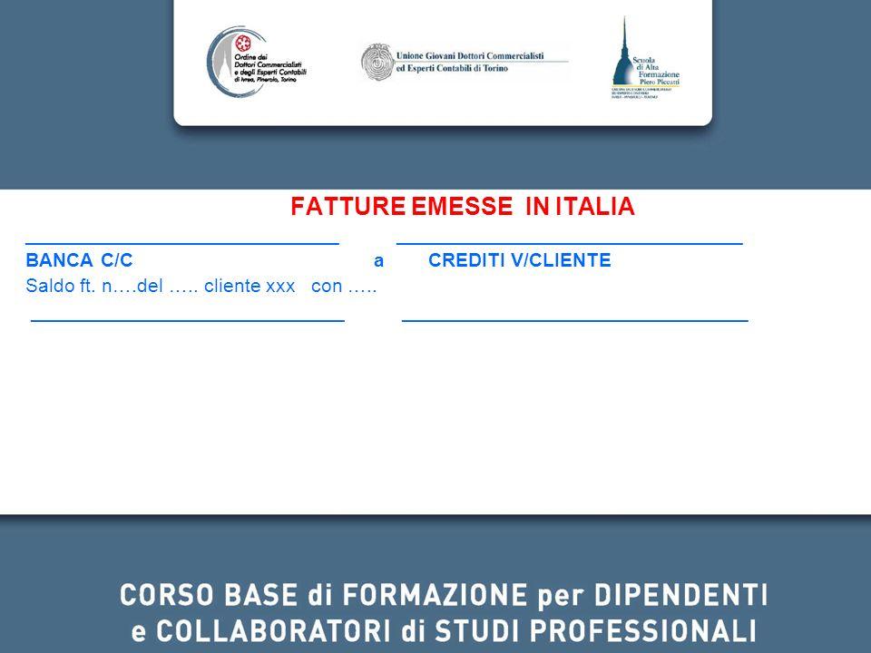 FATTURE EMESSE IN ITALIA _____________________________ ________________________________ BANCA C/C a CREDITI V/CLIENTE Saldo ft. n….del ….. cliente xxx