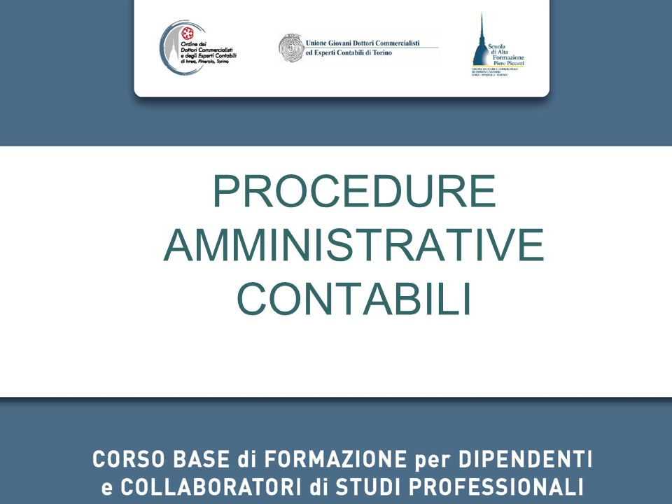 PROCEDURE AMMINISTRATIVE CONTABILI