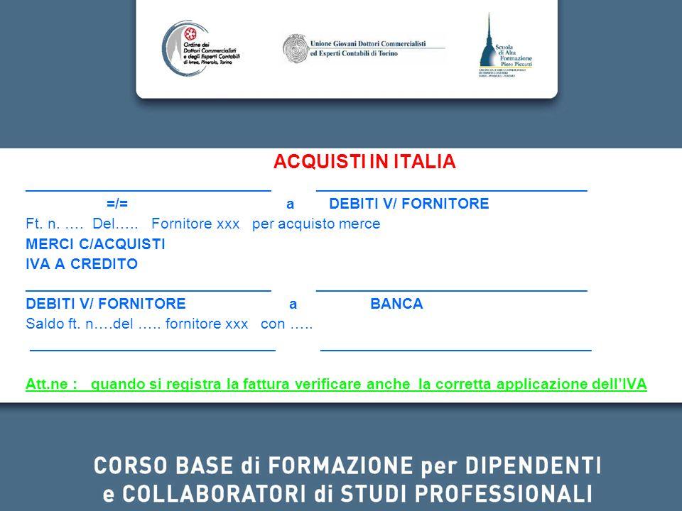 ACQUISTI IN ITALIA _____________________________ ________________________________ =/= a DEBITI V/ FORNITORE Ft. n. …. Del….. Fornitore xxx per acquist
