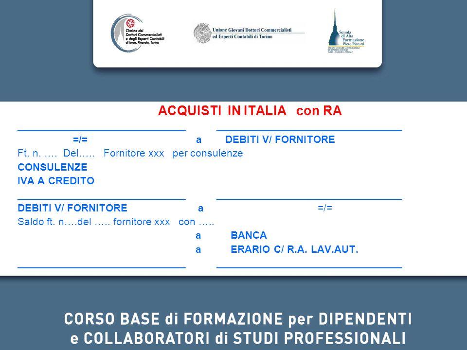 ACQUISTI IN ITALIA con RA _____________________________ ________________________________ =/= a DEBITI V/ FORNITORE Ft. n. …. Del….. Fornitore xxx per
