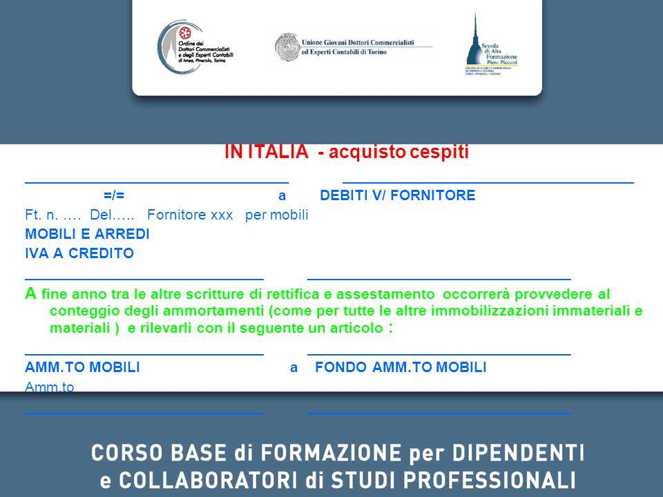 IN ITALIA - acquisto cespiti _____________________________ ________________________________ =/= a DEBITI V/ FORNITORE Ft. n. …. Del….. Fornitore xxx p
