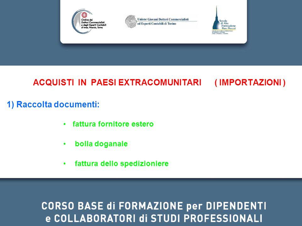 ACQUISTI IN PAESI EXTRACOMUNITARI ( IMPORTAZIONI ) 1) Raccolta documenti: fattura fornitore estero bolla doganale fattura dello spedizioniere