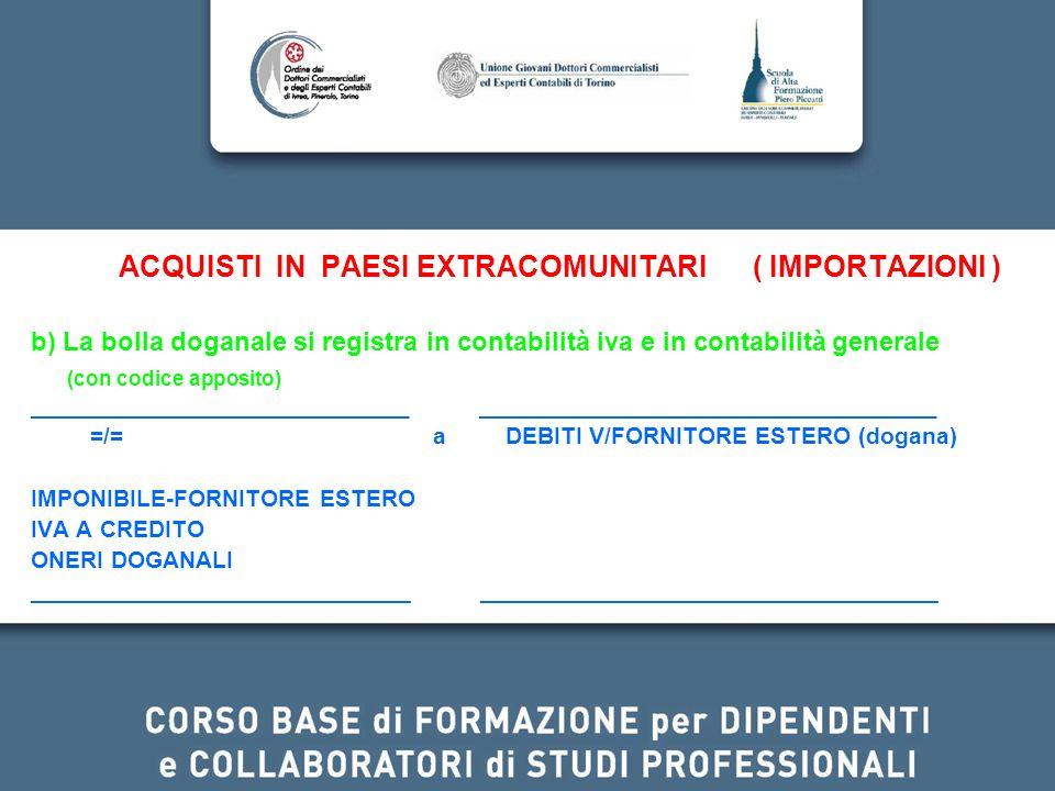ACQUISTI IN PAESI EXTRACOMUNITARI ( IMPORTAZIONI ) b) La bolla doganale si registra in contabilità iva e in contabilità generale (con codice apposito)