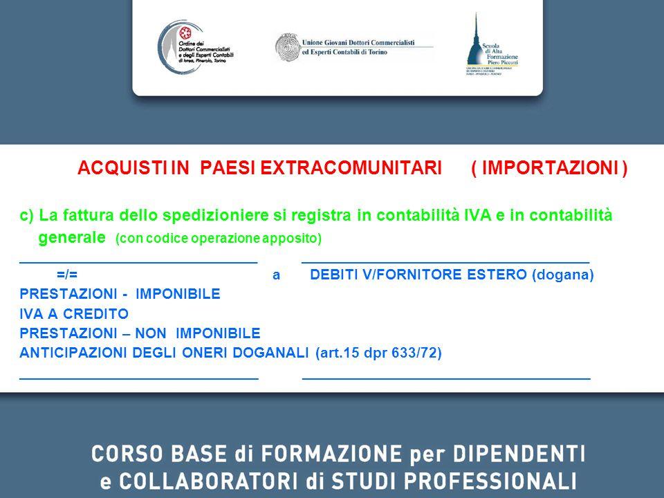 ACQUISTI IN PAESI EXTRACOMUNITARI ( IMPORTAZIONI ) c) La fattura dello spedizioniere si registra in contabilità IVA e in contabilità generale (con cod