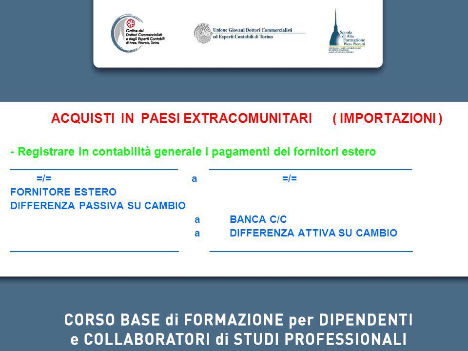 ACQUISTI IN PAESI EXTRACOMUNITARI ( IMPORTAZIONI ) - Registrare in contabilità generale i pagamenti dei fornitori estero _____________________________