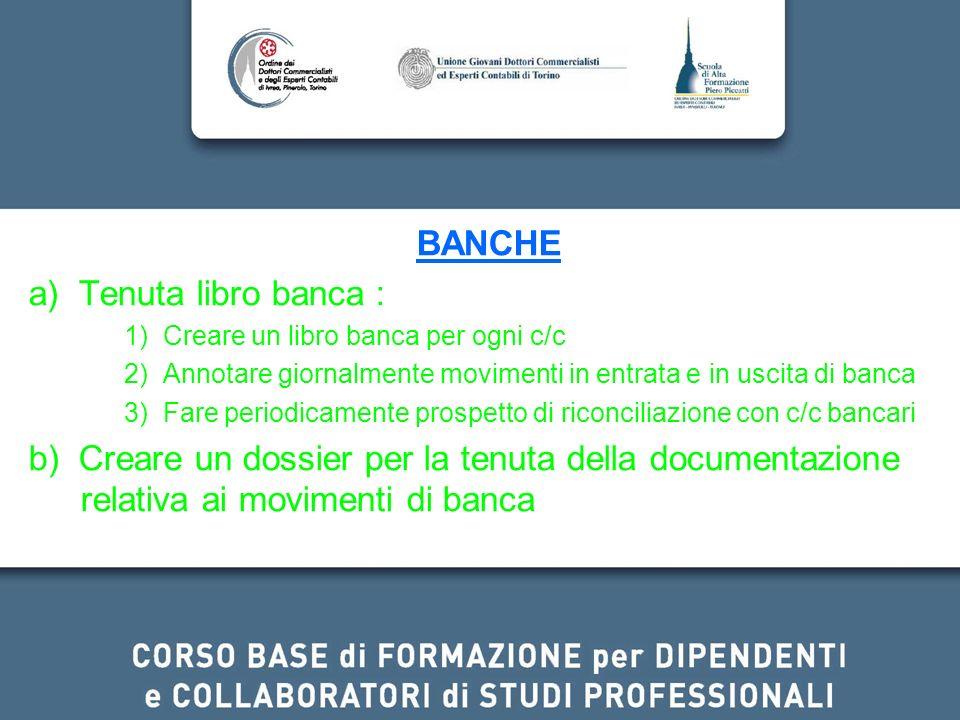 BANCHE a) Tenuta libro banca : 1) Creare un libro banca per ogni c/c 2) Annotare giornalmente movimenti in entrata e in uscita di banca 3) Fare period