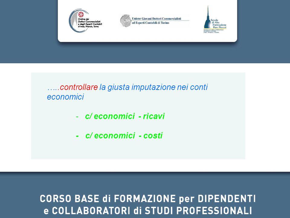 …..controllare la giusta imputazione nei conti economici -c/ economici - ricavi - c/ economici - costi