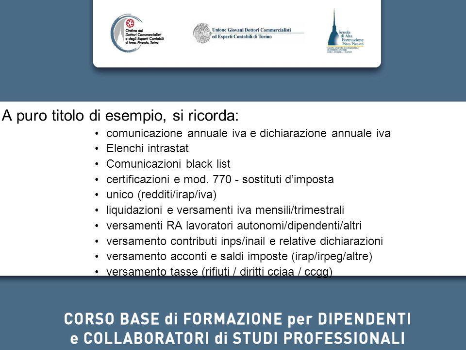 A puro titolo di esempio, si ricorda: comunicazione annuale iva e dichiarazione annuale iva Elenchi intrastat Comunicazioni black list certificazioni