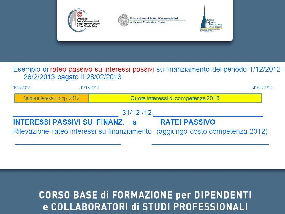 Esempio di rateo passivo su interessi passivi su finanziamento del periodo 1/12/2012 – 28/2/2013 pagato il 28/02/2013 1/12/2012 31/12/2012 31/03/2012