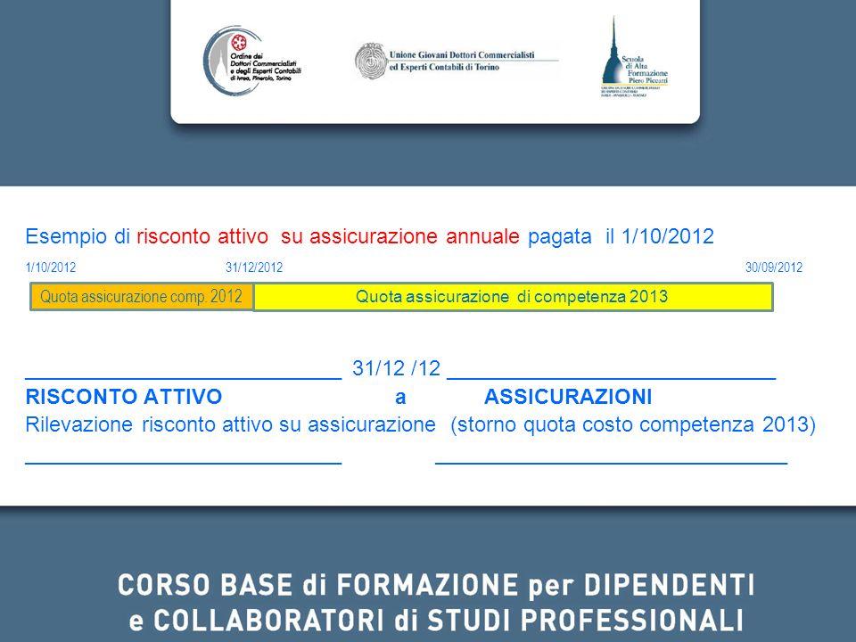 Esempio di risconto attivo su assicurazione annuale pagata il 1/10/2012 1/10/2012 31/12/2012 30/09/2012 ___________________________ 31/12 /12 ________