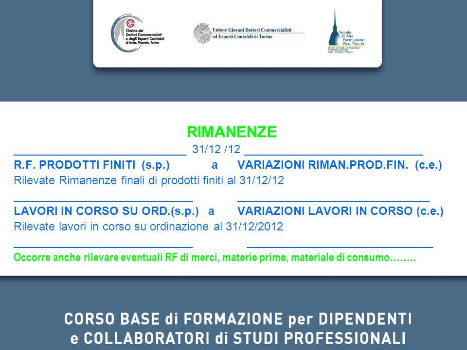 RIMANENZE ___________________________ 31/12 /12 ____________________________ R.F. PRODOTTI FINITI (s.p.) a VARIAZIONI RIMAN.PROD.FIN. (c.e.) Rilevate