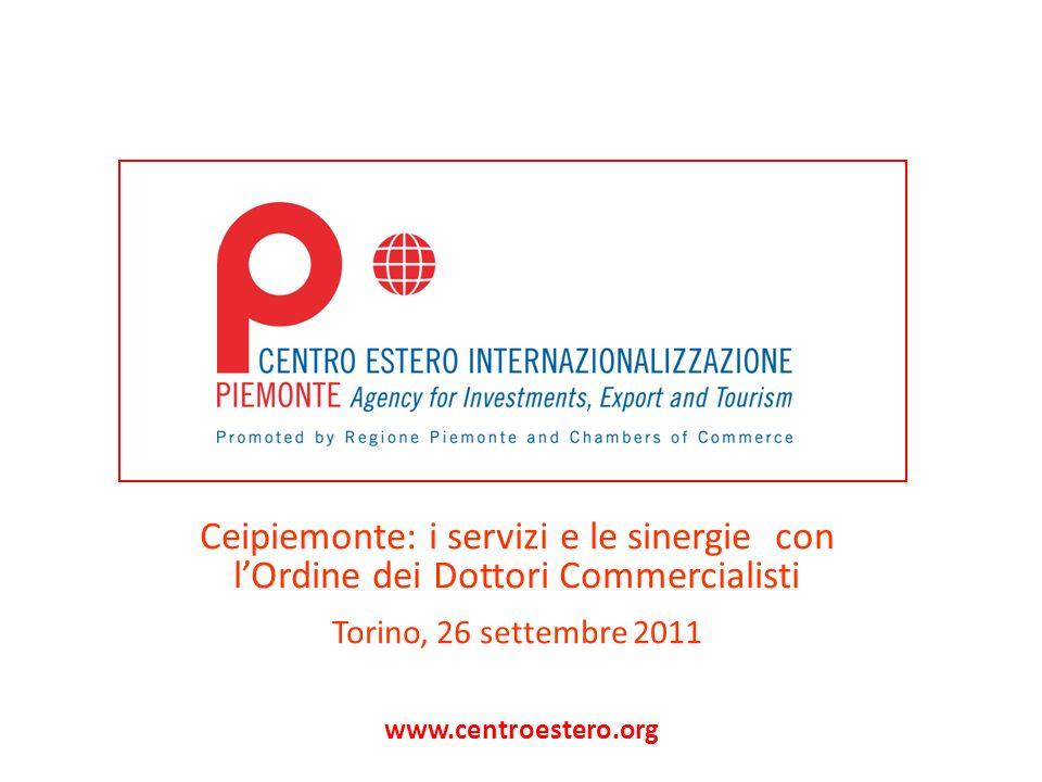 www.centroestero.org Ceipiemonte: i servizi e le sinergie con lOrdine dei Dottori Commercialisti Torino, 26 settembre 2011