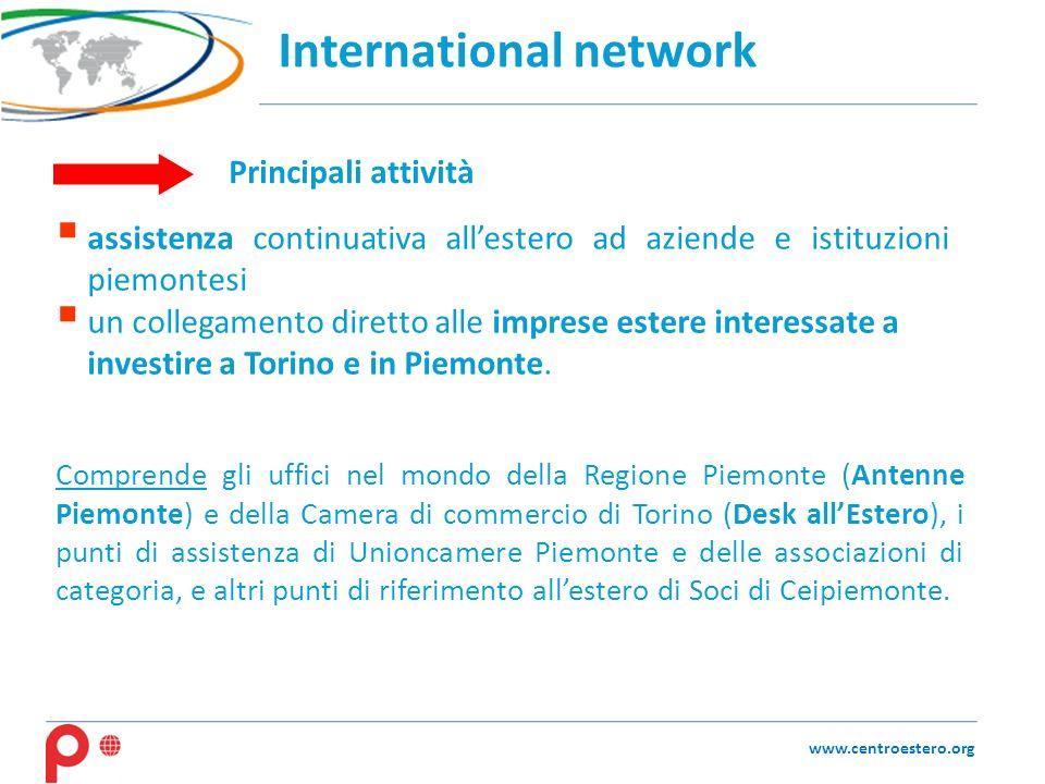 International network www.centroestero.org Comprende gli uffici nel mondo della Regione Piemonte (Antenne Piemonte) e della Camera di commercio di Tor