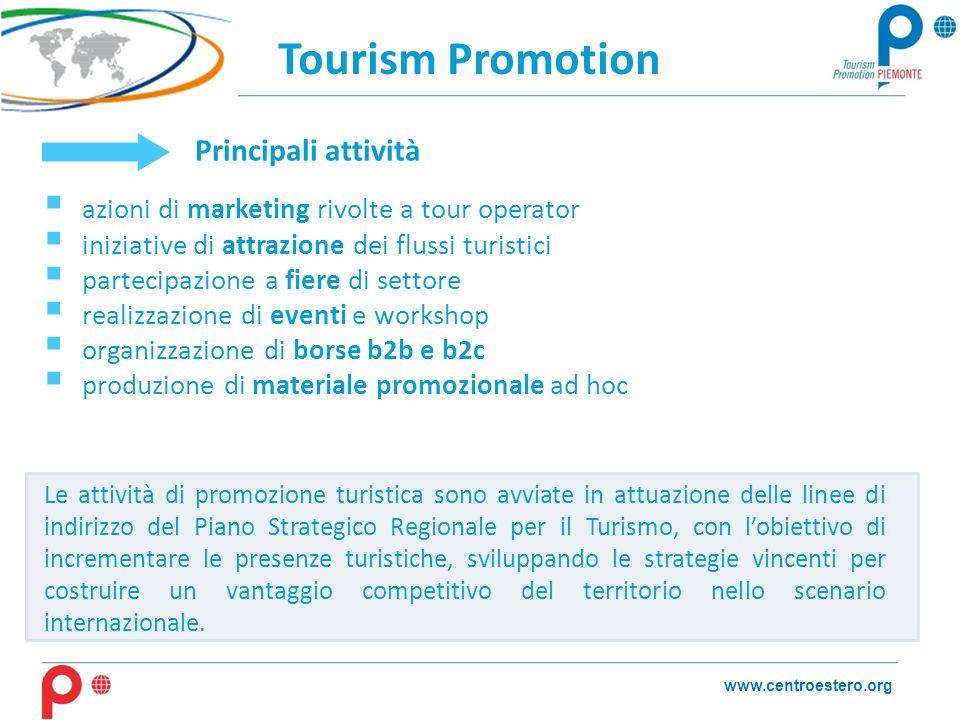 Tourism Promotion www.centroestero.org Le attività di promozione turistica sono avviate in attuazione delle linee di indirizzo del Piano Strategico Regionale per il Turismo, con lobiettivo di incrementare le presenze turistiche, sviluppando le strategie vincenti per costruire un vantaggio competitivo del territorio nello scenario internazionale.
