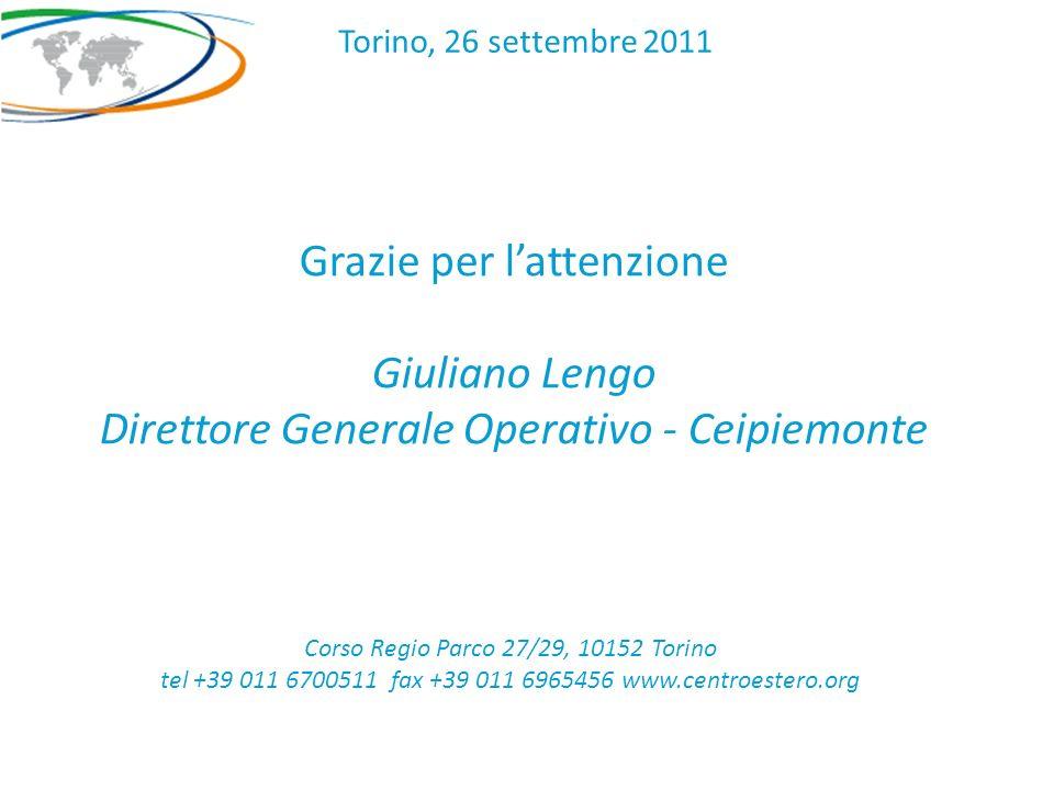 Grazie per lattenzione Giuliano Lengo Direttore Generale Operativo - Ceipiemonte Corso Regio Parco 27/29, 10152 Torino tel +39 011 6700511 fax +39 011 6965456 www.centroestero.org Torino, 26 settembre 2011