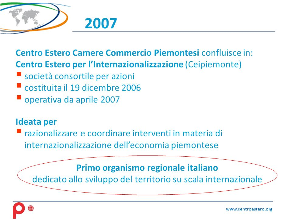 2007 www.centroestero.org Centro Estero Camere Commercio Piemontesi confluisce in: Centro Estero per lInternazionalizzazione (Ceipiemonte) società con