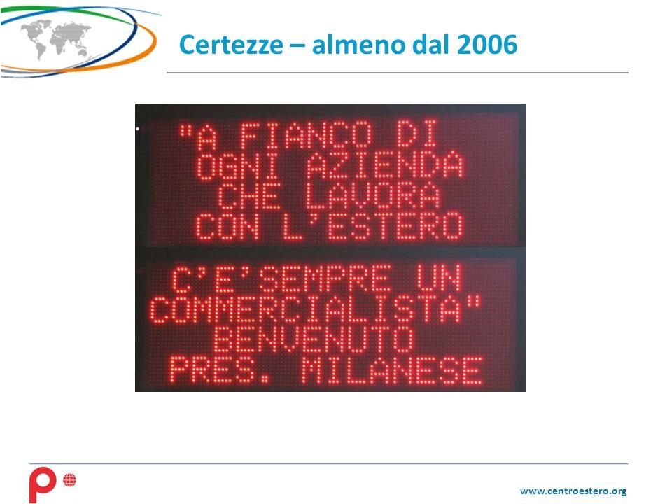 www.centroestero.org Certezze – almeno dal 2006