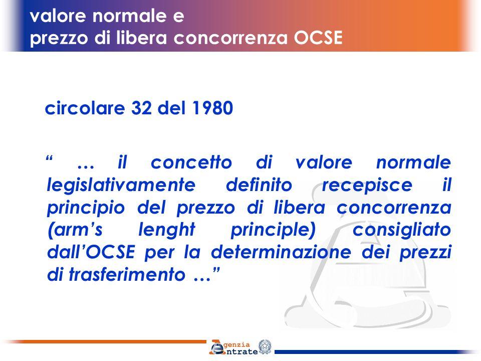 valore normale e prezzo di libera concorrenza OCSE art.