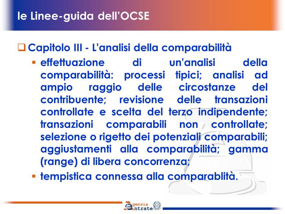 le Linee-guida dellOCSE analisi della comparabilità 1.33 L applicazione del principio di libera concorrenza viene generalmente basata su un confronto delle condizioni di una transazione controllata con le condizioni di una transazione tra imprese indipendenti.