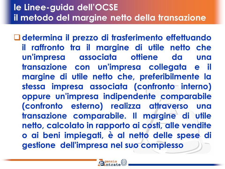 le Linee-guida dellOCSE il metodo della ripartizione degli utili viene identificato lutile complessivo derivante da una o più transazioni contigue poste in essere dalle imprese associate.